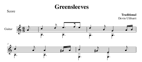 Greensleeves in A minor