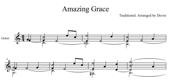Amazing Grace in C Major