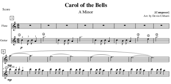 """Carol of the Bells"" for Flute and Guitar sample"