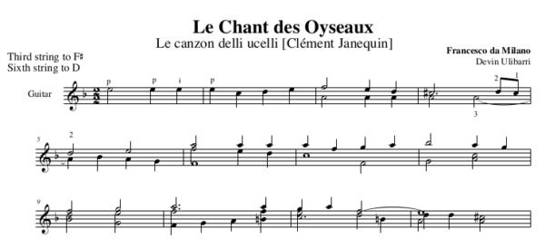 Le Chant des Oyseaux by Francesco da Milano