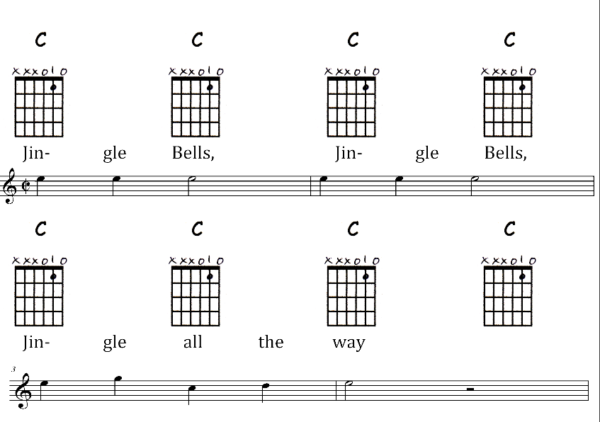 Jingle Bells with Music and Chord Charts sample