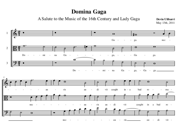 Domina Gaga A Salute to the Music of the 16th Century and Lady Gaga