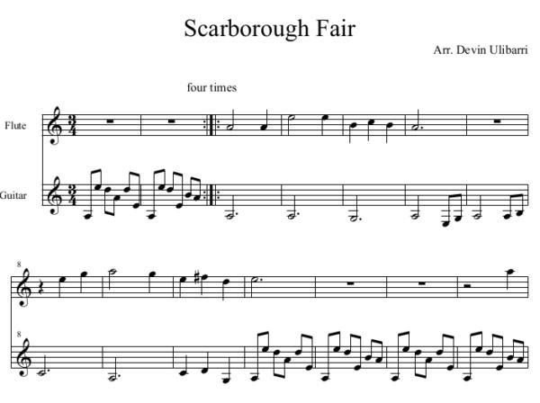Scarborough Fair for Flute and Guitar