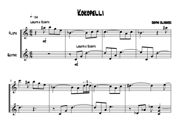 "First page of score to ""Kokopelli"""